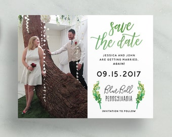 simple modern save the dates // green watercolor foliage leaves // brush hand lettering // calligraphy // custom printable save the dates