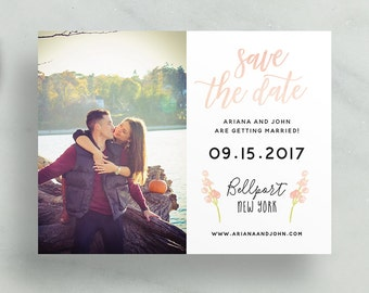 simple modern save the dates // peach watercolor floral leaves // brush hand lettering // calligraphy // custom printable save the dates