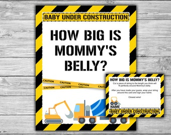 Construction - Baby Shower - How Big Is Mommy's Belly - Game - Sign - Card - Printable - Instant Download - Baby Under Construction - 053