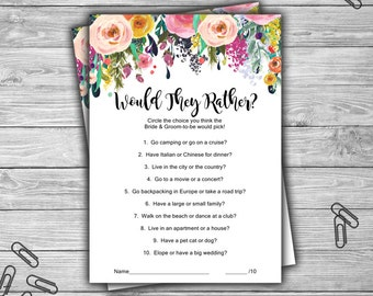 Floral - Bridal Shower - Would They Rather - Game - Cards - PRINTABLE - INSTANT DOWNLOAD - Shabby Chic - Bridal Shower Game - L08