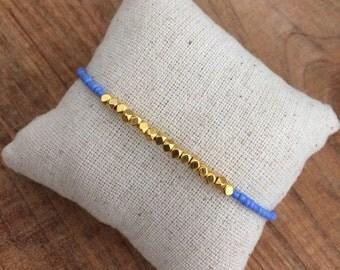 Nugget bracelet, dainty bracelet, simple bracelet, gold nugget, periwinkle bracelet, stacking, friendship bracelet, periwinkle and gold