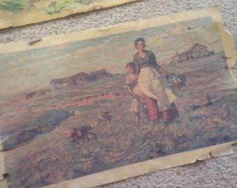 Very old woman and chil rural farm print