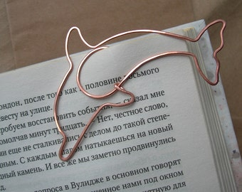 Wire bookmark, paperclip, dolphin bookmark, copper, wirerapped,  gift for booklover, notebook accessories, clip-style bookmark.