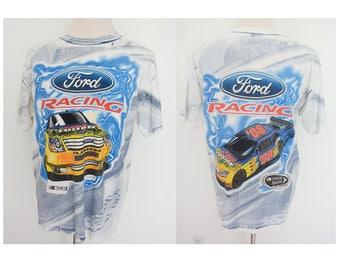 Vintage Nascar Ford Fusion car racing brand big logo all over print tee tshirt