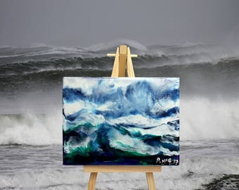 Atlantic Swell - Encaustic Wax Painting on an Easel
