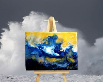 Wild Wave - Encaustic Wax Painting on an Easel