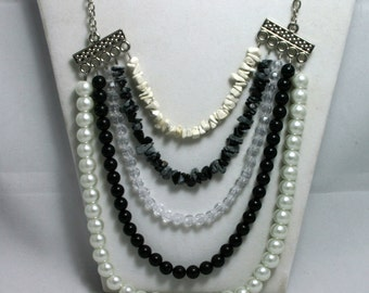 Black and White Tiered Necklace