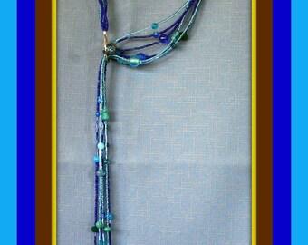 Unique Blue Lariat Necklace