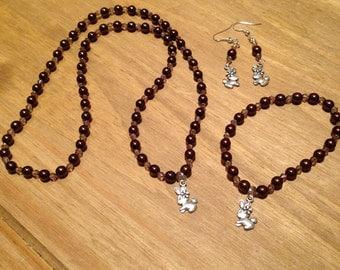 Rabbit Jewellery gift set, valentine gift, rabbit lover, bunny jewellery, matching jewellery set