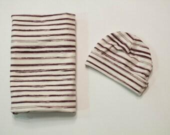 Modern Stripes Baby Swaddle, Baby Hat, Baby Leggings, Baby shower gift, minimalist baby, Newborn Gift, Baby Girl swaddle, Baby boy swaddle,
