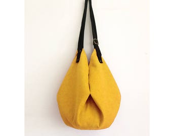 yellow hobo bag purse with adjustable suede black shoulder strap, womens hand bag made in italy BBagdesign