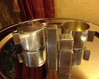 Merle F. Faber Art Deco Quadruple Silverplate Creamer and Sugar Set with Salt and Pepper Shakers