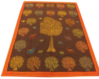 Cotton patch Work Tree of Life Design Double Bed Cover Size 260x240 CM