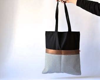 Cotton Bag, Black, Stripes, Black Hand Bag, Black and white stripes