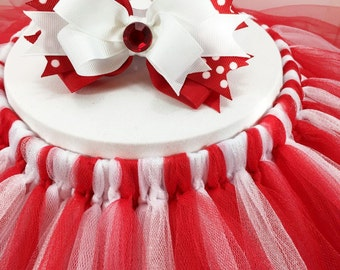 Candy Cane Red and White Tutu Skirt, Girls Tulle Skirt, Girls Tutu, Tulle Skirt for Girls, Matching Stacked Hair Bow #62