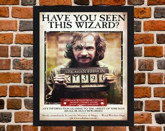 Framed Harry Potter and the Prisoner of Azkaban Wizard Wanted Movie / Film Poster A3 Size Mounted In Black Or White Frame