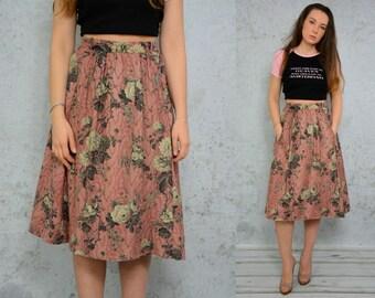 Salmon skirt Boho midi floral Gypsy Etno Bohemian flowers High waisted vintage 1980's S Small size
