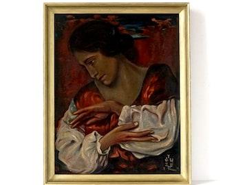 Vintage 1920's Art Deco Portrait Painting - Oil Painting - Signed & Framed - Portrait Art - Oil Portrait - Art Deco Painting