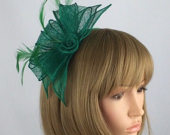 Green Fascinator on aliceband hairband wedding facinator Ascot ladies day races tea party engagements, the races, event occasions,