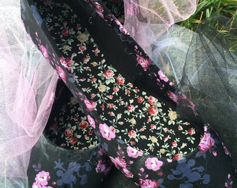 Floral Mickey flats