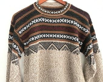 Vintage Wool Alpaca Sweater - Andean Handmade Sweater - Fur