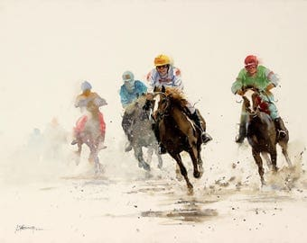 """Original Landscape, Suggestive Abstract Watercolor Painting, Size 22"""" x 30"""", Title: Race 6"""