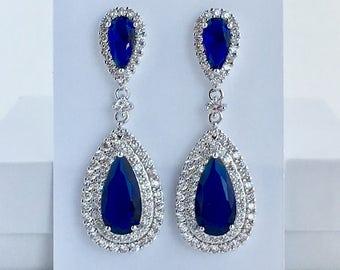 Sapphire Crystal Earrings Blue Cubic Zirconia Earrings Sapphire Teardrop Earrings Bridal Blue Crystal Earrings Sapphire Bridesmaid Jewelry