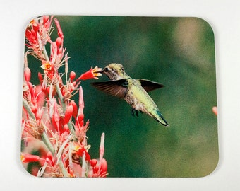 Mouse Pad - Humming Bird at Pink Flowers