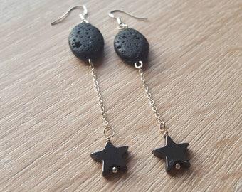 Earrings black lava stone Hematite earrings 925 Silver gemstone earrings