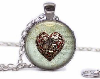 Glass cabochon heart pendant Locket