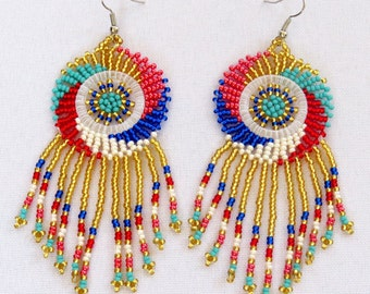 African Zulu beaded earrings - Dreamcatchers (Small) - Gold/pink/red/blues