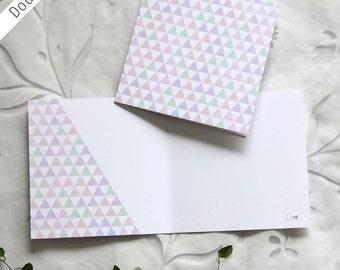 Wedding invitations. Double card 12x12 cm. Pastel pattern design.  Greeting card, Birthday card, Thank you card.