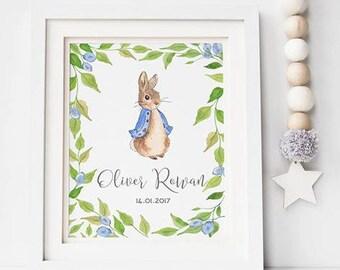 Peter Rabbit Personalised Print - Peter Rabbit Print - Beatrix Potter Print