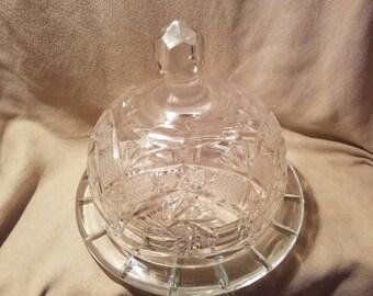 American Brilliant Cut Glass Super CHEESE DISH / DOME Circa 1900's ~ Lead Crystal Cheese Dome