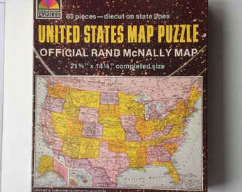 Vintage Rand McNally United State Map Puzzle 1980s
