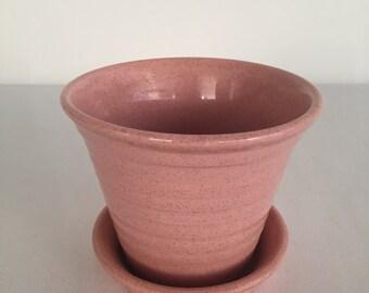 Vintage Brown Speckled Blush Pink Pfaltzgraff Flower Pot Made in the USA