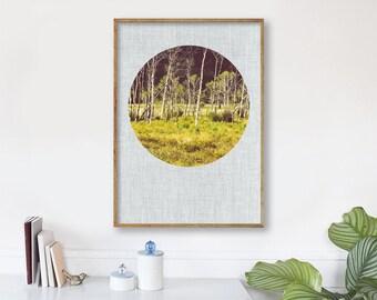 "large modern wall art, large modern art prints, landscape wall art, large landscape art, instant download, printable art ""Aspen Tree Meadow"""