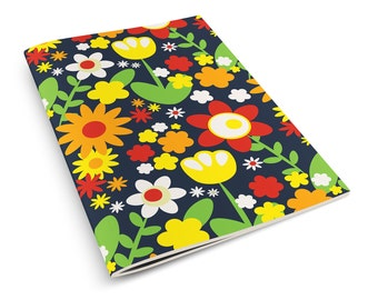 Summer Botanicals A5 Notebook Sketchbook Retro Floral