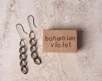 Long Chain Link Bohemian Earrings - Chain Link Earrings, Boho Earrings, Unique Earrings, Long Earrings, Minimalist Earrings, Simple Earrings