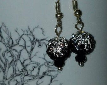 Black and clear crystal sparkling earrings