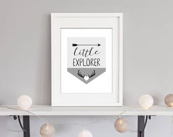 INSTANT DOWNLOAD - Printable 'Little Explorer' Pennant Bunting Nursery Art Sign - Stag and Arrow - Monochrome Black & Greys - Baby Boy Girl