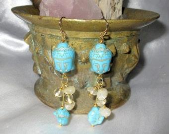 Buddha Dangle Earring - Turquoise - Citrine