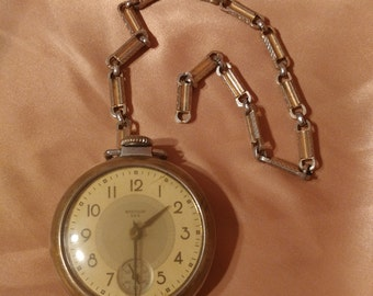 VINTAGE Watch Pocket with chain / Mid-Century Westclox Dax Railroad Pocket VTG VTG watch with chain gold pocket watch