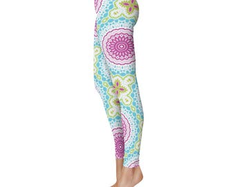 Pattern Leggings, Pink and Blue Boho Leggings, Bohemian Yoga Pants, Mandala Art Tights