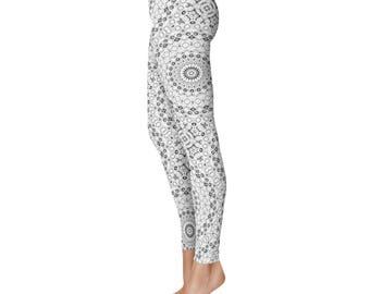 Gray and White Yoga Pants - Monochrome Leggings, Workout Leggings, Mandala Pattern Exercise Pants
