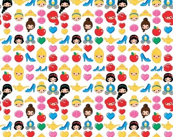 Disney Princess Emojiland character fabric, Disney fabric, Cinderella, Ariel, Belle fabric, cartoon fabric