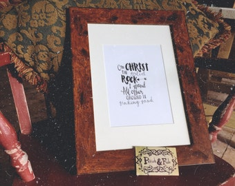 On Christ the Solid Rock I stand. Hymn Quote Art Print.