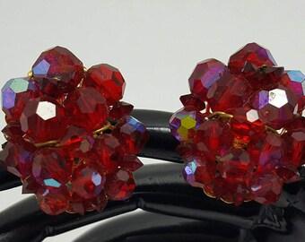 Beaded Red Crystal Earrings