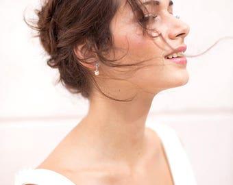 red Crystal bridal earrings red CZ wedding earrings , Bridal pearl earrings,Vintage style CZ earrings, Flower bridal earring, Bridal Earring