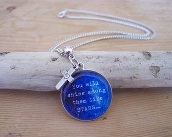 "Silver necklace with Christian Bible verse ""You will shine among them like stars"" (Philippians 2:15) and cross charm"